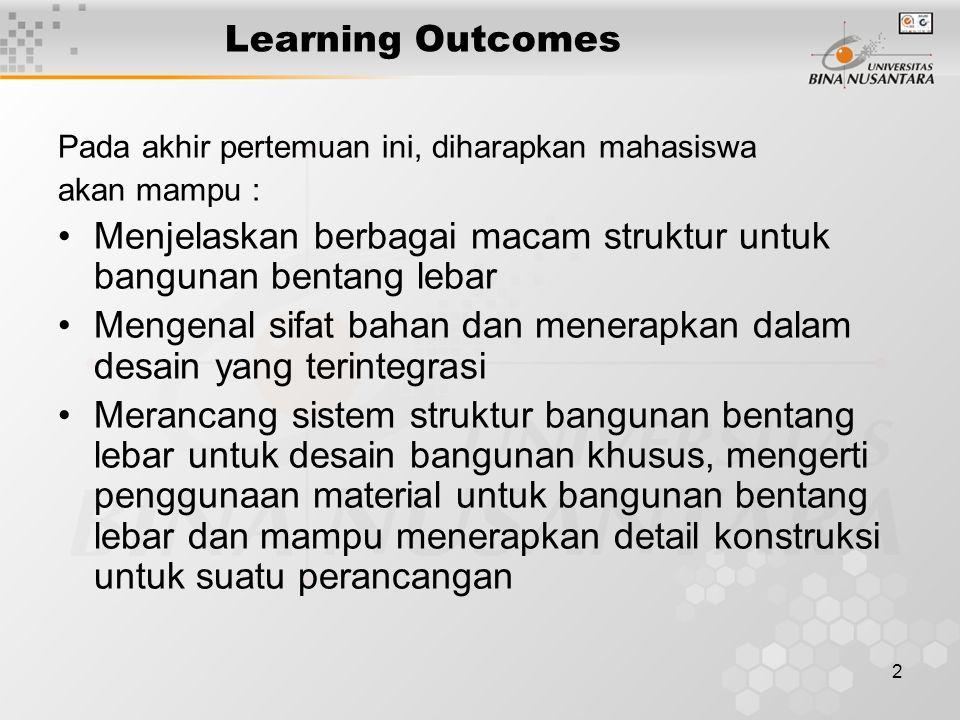 2 Learning Outcomes Pada akhir pertemuan ini, diharapkan mahasiswa akan mampu : Menjelaskan berbagai macam struktur untuk bangunan bentang lebar Menge