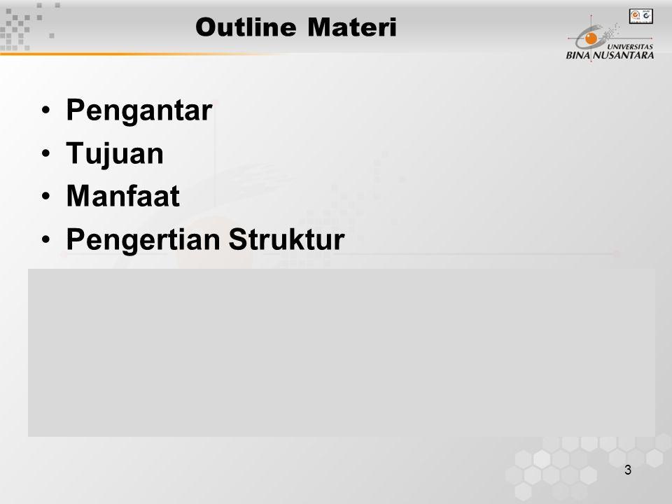 3 Outline Materi Pengantar Tujuan Manfaat Pengertian Struktur