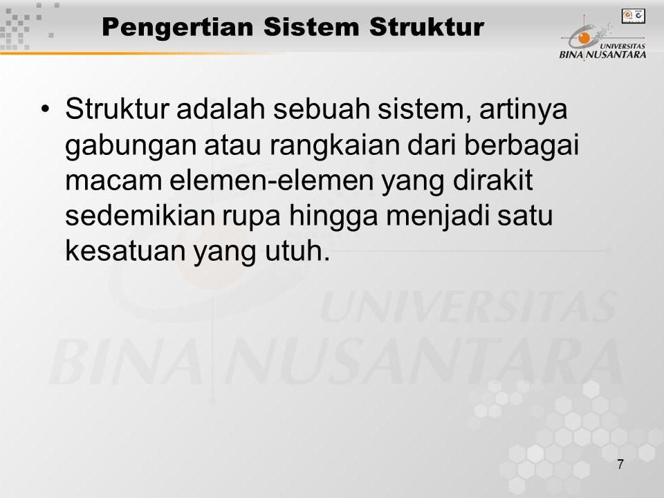 7 Pengertian Sistem Struktur Struktur adalah sebuah sistem, artinya gabungan atau rangkaian dari berbagai macam elemen-elemen yang dirakit sedemikian