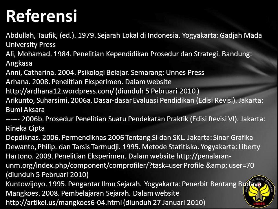 Referensi Abdullah, Taufik, (ed.). 1979. Sejarah Lokal di Indonesia. Yogyakarta: Gadjah Mada University Press Ali, Mohamad. 1984. Penelitian Kependidi