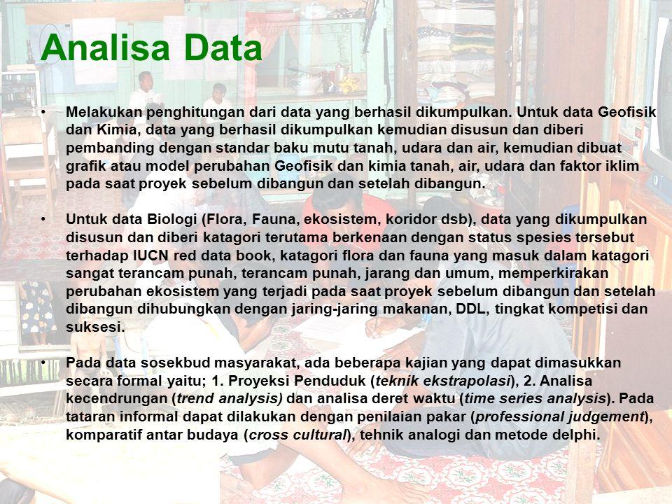 Analisa Data Melakukan penghitungan dari data yang berhasil dikumpulkan. Untuk data Geofisik dan Kimia, data yang berhasil dikumpulkan kemudian disusu