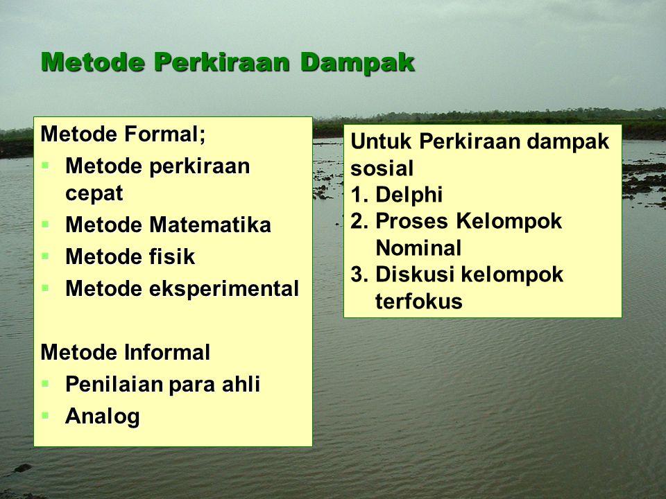 Metode Perkiraan Dampak Metode Formal;  Metode perkiraan cepat  Metode Matematika  Metode fisik  Metode eksperimental Metode Informal  Penilaian