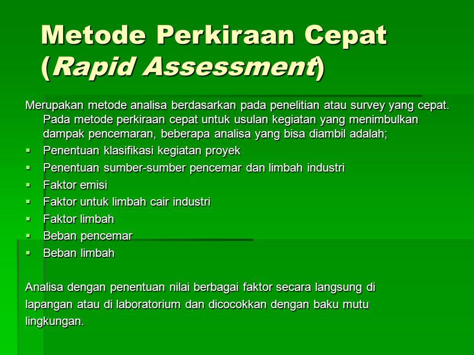 Metode Perkiraan Cepat (Rapid Assessment) Merupakan metode analisa berdasarkan pada penelitian atau survey yang cepat. Pada metode perkiraan cepat unt