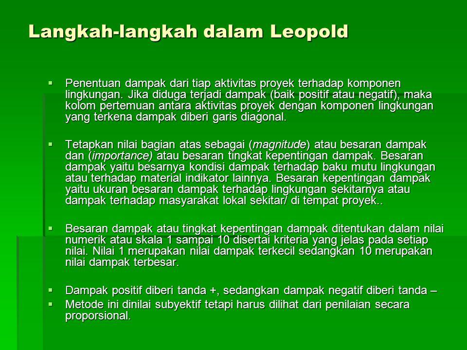Langkah-langkah dalam Leopold  Penentuan dampak dari tiap aktivitas proyek terhadap komponen lingkungan. Jika diduga terjadi dampak (baik positif ata
