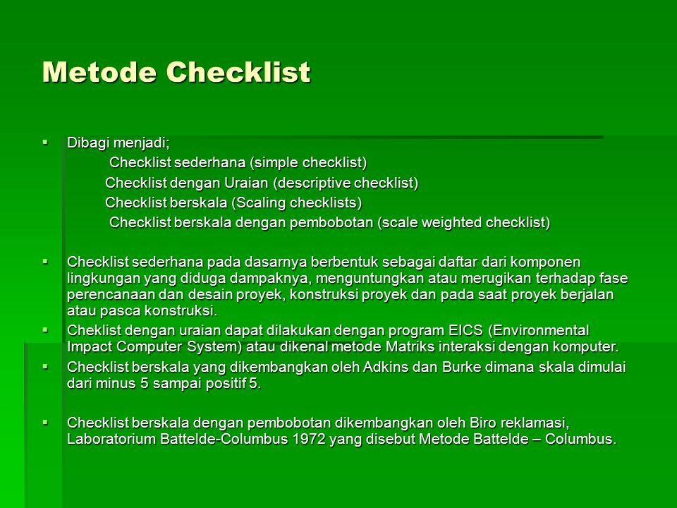 Metode Checklist  Dibagi menjadi; Checklist sederhana (simple checklist) Checklist dengan Uraian (descriptive checklist) Checklist dengan Uraian (des