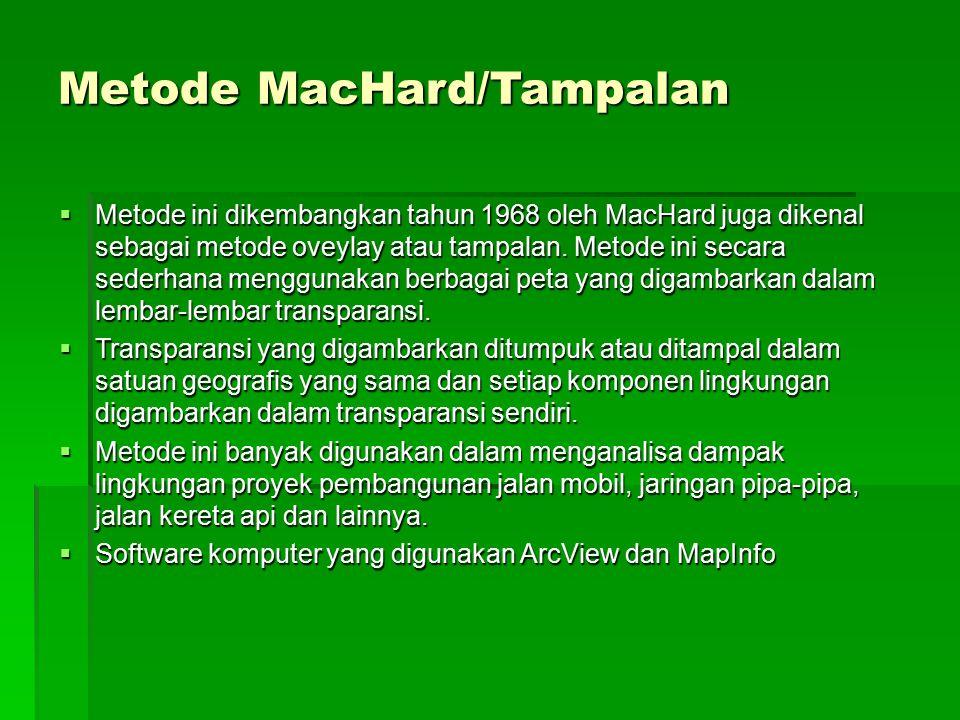 Metode MacHard/Tampalan  Metode ini dikembangkan tahun 1968 oleh MacHard juga dikenal sebagai metode oveylay atau tampalan. Metode ini secara sederha