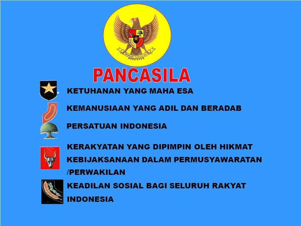 1. KETUHANAN YANG MAHA ESA KEMANUSIAAN YANG ADIL DAN BERADAB PERSATUAN INDONESIA KERAKYATAN YANG DIPIMPIN OLEH HIKMAT KEBIJAKSANAAN DALAM PERMUSYAWARA