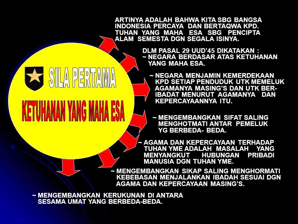 ARTINYA ADALAH BAHWA KITA SBG BANGSA INDONESIA PERCAYA DAN BERTAQWA KPD.