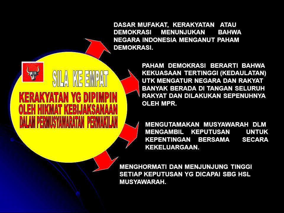DASAR MUFAKAT, KERAKYATAN ATAU DEMOKRASI MENUNJUKAN BAHWA NEGARA INDONESIA MENGANUT PAHAM DEMOKRASI.