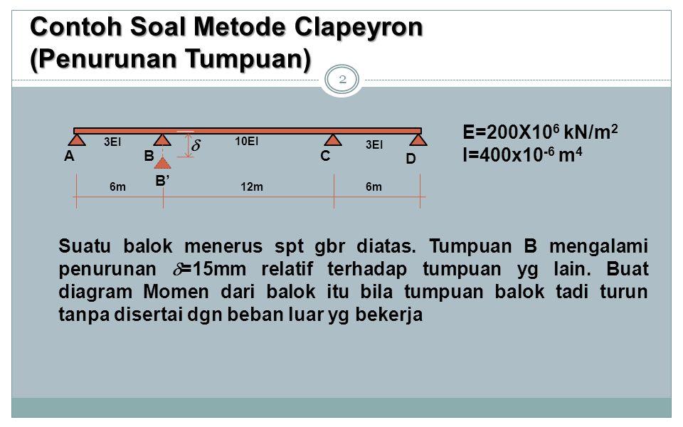 Contoh Soal Metode Clapeyron (Penurunan Tumpuan) 2 E=200X10 6 kN/m 2 I=400x10 -6 m 4 Suatu balok menerus spt gbr diatas. Tumpuan B mengalami penurunan