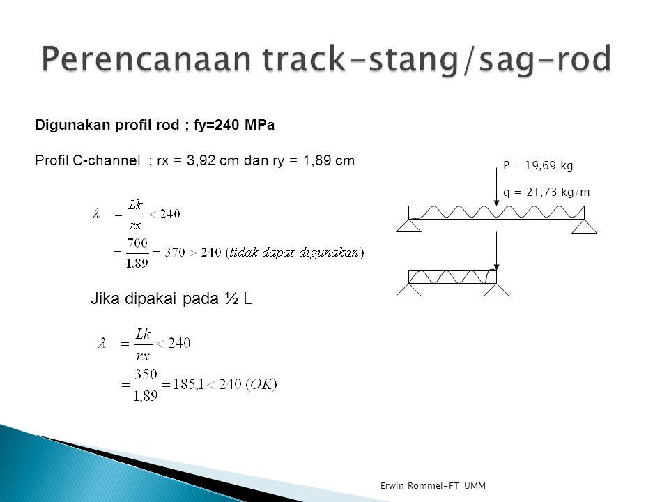 Digunakan profil rod ; fy=240 MPa Profil C-channel ; rx = 3,92 cm dan ry = 1,89 cm Jika dipakai pada ½ L P = 19,69 kg q = 21,73 kg/m Erwin Rommel-FT U