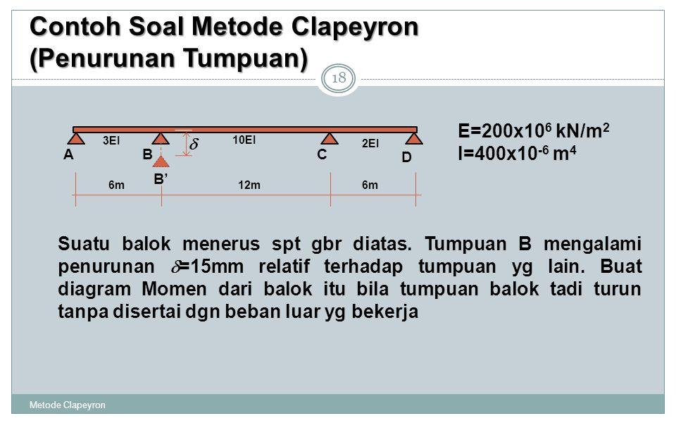 Contoh Soal Metode Clapeyron (Penurunan Tumpuan) 18 E=200x10 6 kN/m 2 I=400x10 -6 m 4 Suatu balok menerus spt gbr diatas. Tumpuan B mengalami penuruna