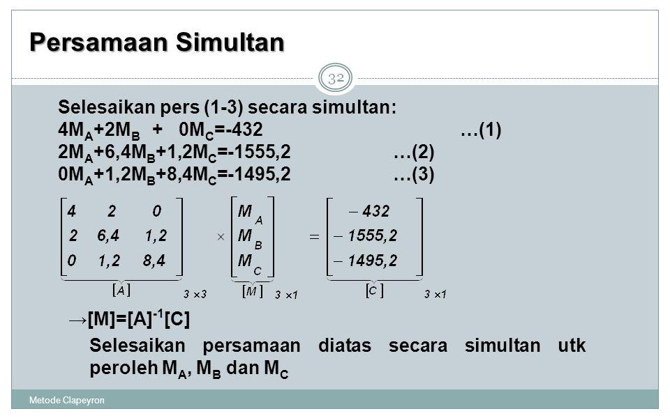 Persamaan Simultan Metode Clapeyron 32 Selesaikan pers (1-3) secara simultan: 4M A +2M B + 0M C =-432…(1) 2M A +6,4M B +1,2M C =-1555,2…(2) 0M A +1,2M B +8,4M C =-1495,2…(3) →[M]=[A] -1 [C] Selesaikan persamaan diatas secara simultan utk peroleh M A, M B dan M C