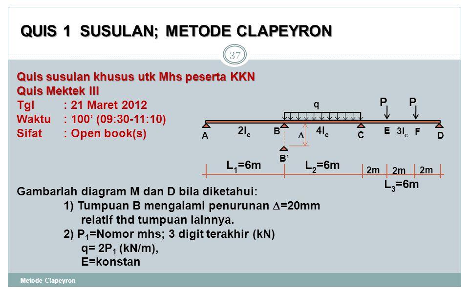 QUIS 1 SUSULAN; METODE CLAPEYRON Metode Clapeyron 37 Gambarlah diagram M dan D bila diketahui: 1) Tumpuan B mengalami penurunan  =20mm relatif thd tumpuan lainnya.