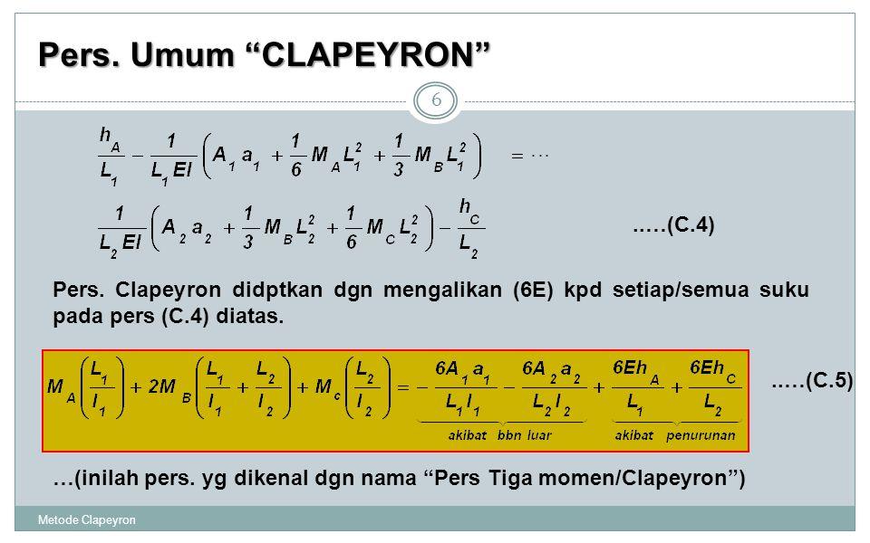 """Pers. Umum """"CLAPEYRON"""" Metode Clapeyron 6 Pers. Clapeyron didptkan dgn mengalikan (6E) kpd setiap/semua suku pada pers (C.4) diatas...…(C.4) …(inilah"""