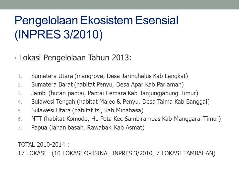 Pengelolaan Ekosistem Esensial (INPRES 3/2010) Lokasi Pengelolaan Tahun 2013: 1.