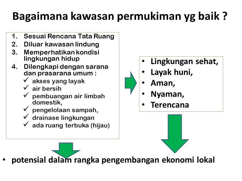 Bagaimana kawasan permukiman yg baik ? potensial dalam rangka pengembangan ekonomi lokal 1.Sesuai Rencana Tata Ruang 2.Diluar kawasan lindung 3.Memper