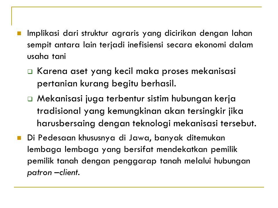 Ciri ciri umum struktur agraris pedesaan di Jawa (wiradi dan Ibrahim, 2003) :  Terdiri dari pertanian yang luasnya sempit  Pemilikan lahan cenderung
