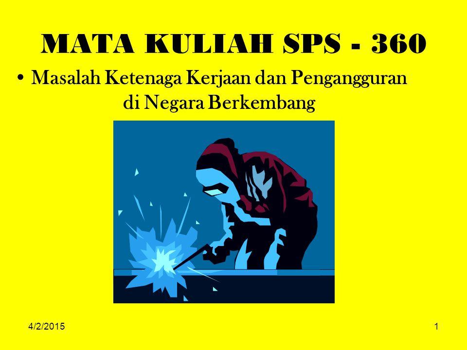 4/2/20151 MATA KULIAH SPS - 360 Masalah Ketenaga Kerjaan dan Pengangguran di Negara Berkembang