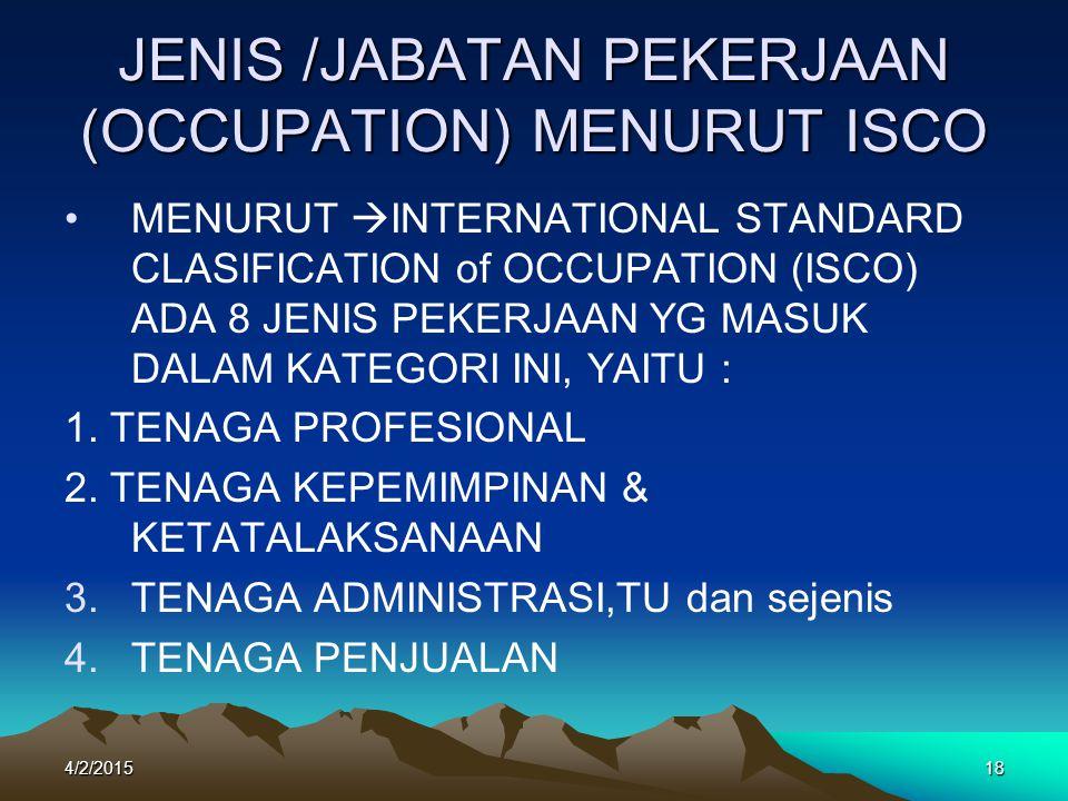 4/2/201518 JENIS /JABATAN PEKERJAAN (OCCUPATION) MENURUT ISCO MENURUT  INTERNATIONAL STANDARD CLASIFICATION of OCCUPATION (ISCO) ADA 8 JENIS PEKERJAAN YG MASUK DALAM KATEGORI INI, YAITU : 1.