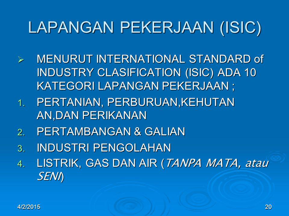 4/2/201520 LAPANGAN PEKERJAAN (ISIC)  MENURUT INTERNATIONAL STANDARD of INDUSTRY CLASIFICATION (ISIC) ADA 10 KATEGORI LAPANGAN PEKERJAAN ; 1.