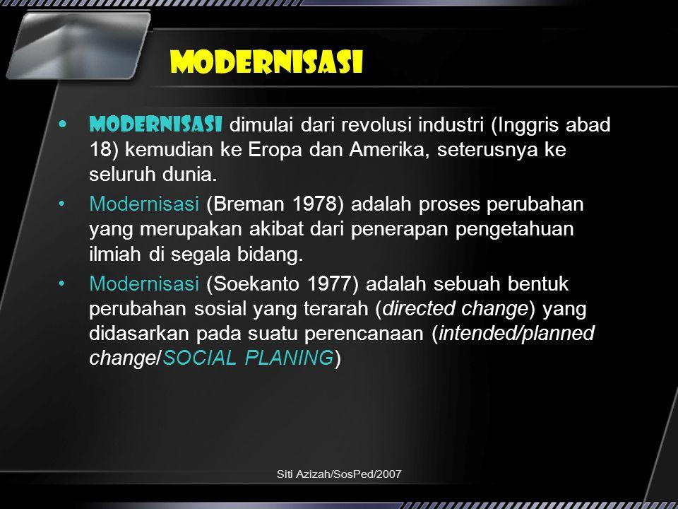 Siti Azizah/SosPed/2007 Modernisasi Modernisasi dimulai dari revolusi industri (Inggris abad 18) kemudian ke Eropa dan Amerika, seterusnya ke seluruh dunia.