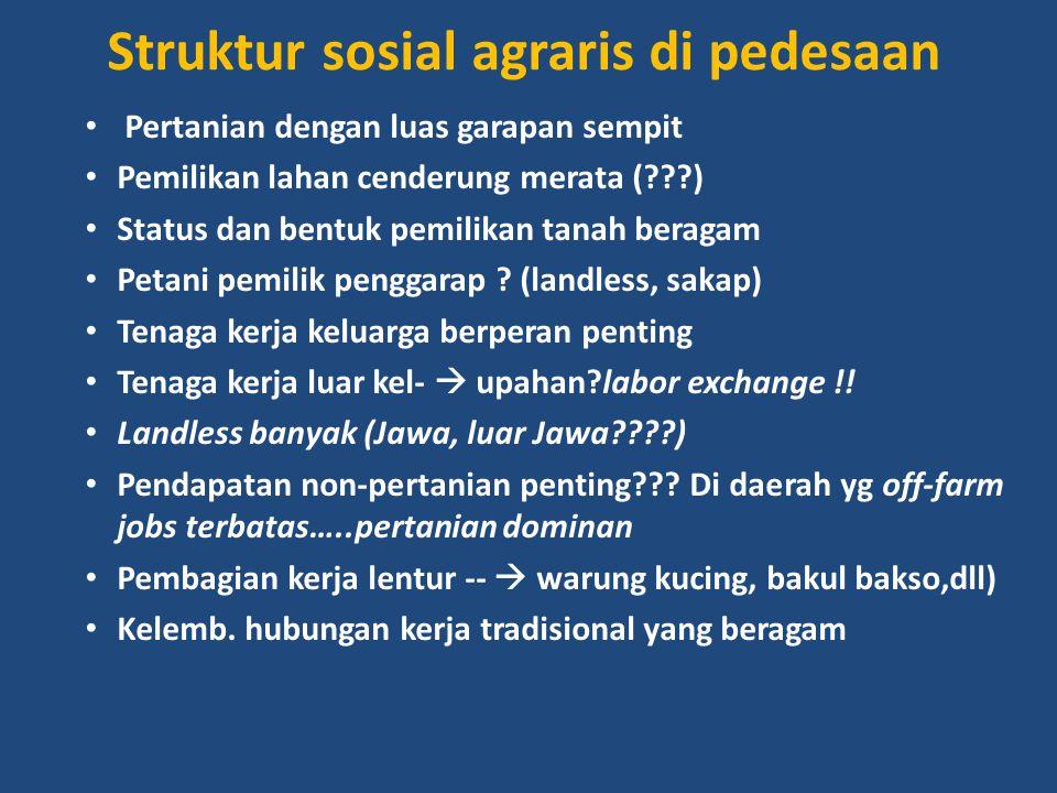Struktur sosial agraris di pedesaan Pertanian dengan luas garapan sempit Pemilikan lahan cenderung merata (???) Status dan bentuk pemilikan tanah bera