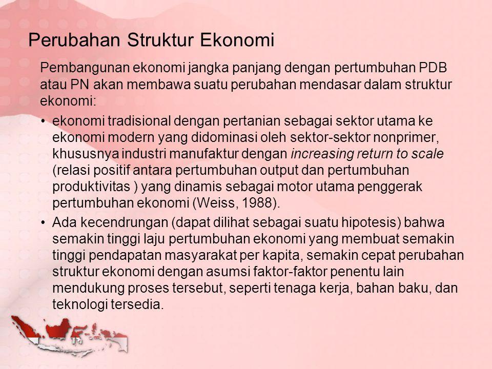 Pembangunan ekonomi jangka panjang dengan pertumbuhan PDB atau PN akan membawa suatu perubahan mendasar dalam struktur ekonomi: ekonomi tradisional de