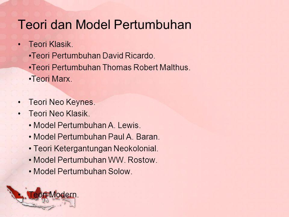 Teori dan Model Pertumbuhan Teori Klasik. Teori Pertumbuhan David Ricardo. Teori Pertumbuhan Thomas Robert Malthus. Teori Marx. Teori Neo Keynes. Teor