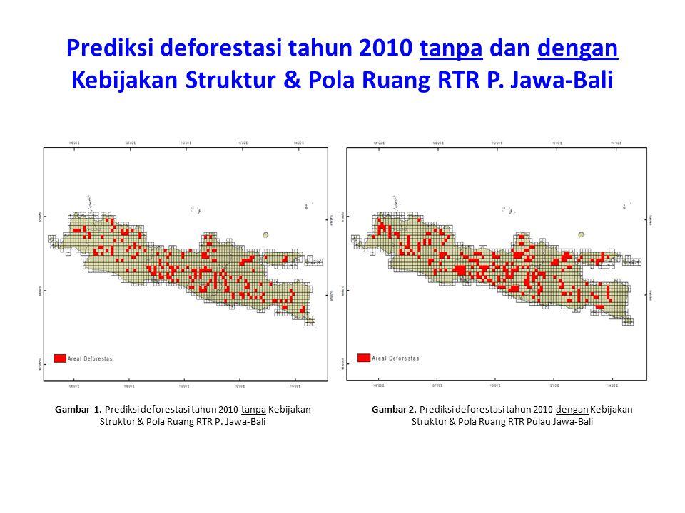 Prediksi deforestasi tahun 2010 tanpa dan dengan Kebijakan Struktur & Pola Ruang RTR P. Jawa-Bali Gambar 1. Prediksi deforestasi tahun 2010 tanpa Kebi