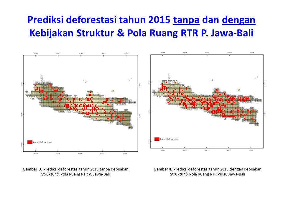 Prediksi deforestasi tahun 2015 tanpa dan dengan Kebijakan Struktur & Pola Ruang RTR P. Jawa-Bali Gambar 3. Prediksi deforestasi tahun 2015 tanpa Kebi