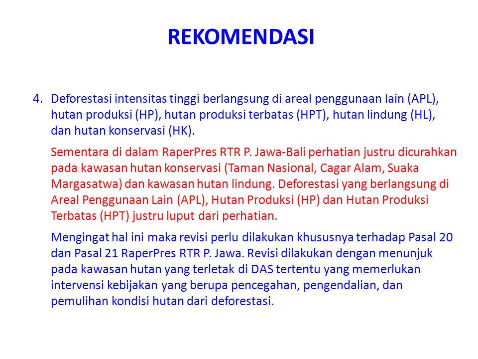 REKOMENDASI 4.Deforestasi intensitas tinggi berlangsung di areal penggunaan lain (APL), hutan produksi (HP), hutan produksi terbatas (HPT), hutan lind