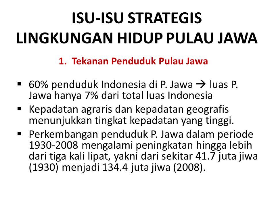  60% penduduk Indonesia di P. Jawa  luas P. Jawa hanya 7% dari total luas Indonesia  Kepadatan agraris dan kepadatan geografis menunjukkan tingkat