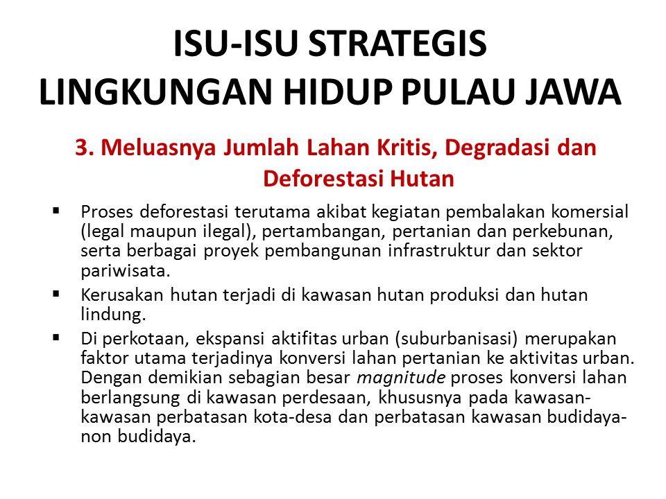 ISU-ISU STRATEGIS LINGKUNGAN HIDUP PULAU JAWA 3. Meluasnya Jumlah Lahan Kritis, Degradasi dan Deforestasi Hutan  Proses deforestasi terutama akibat k