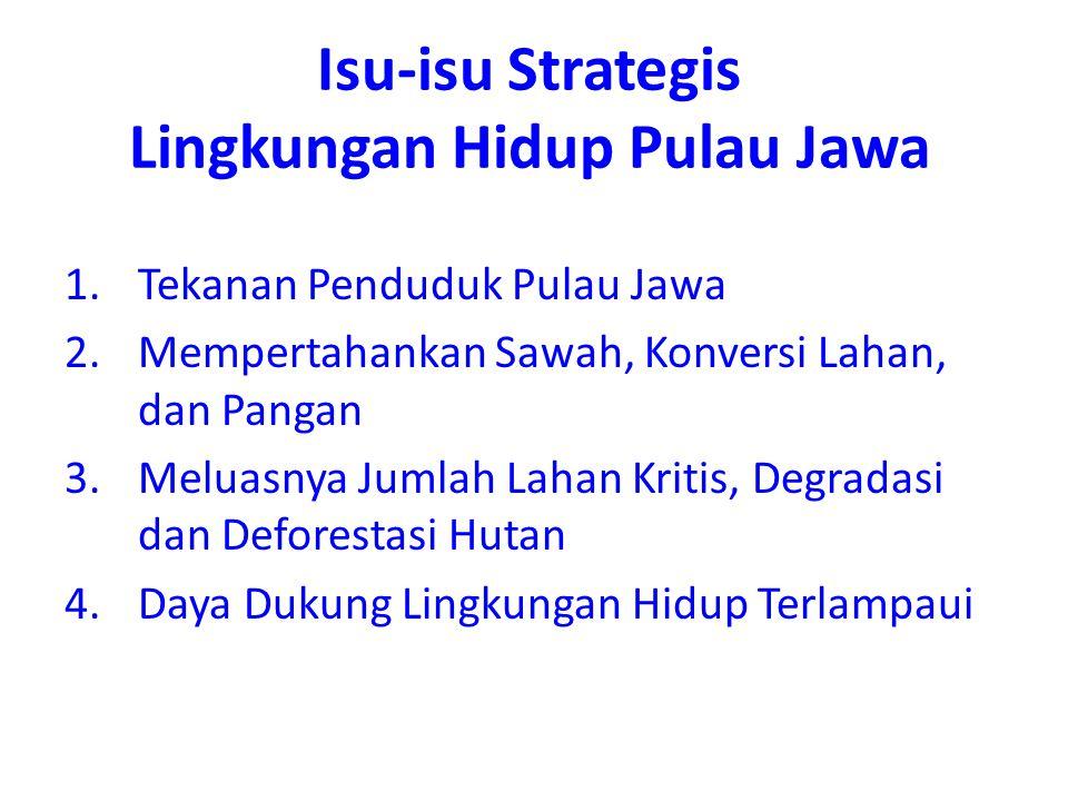 1.Tekanan Penduduk Pulau Jawa 2.Mempertahankan Sawah, Konversi Lahan, dan Pangan 3.Meluasnya Jumlah Lahan Kritis, Degradasi dan Deforestasi Hutan 4.Da