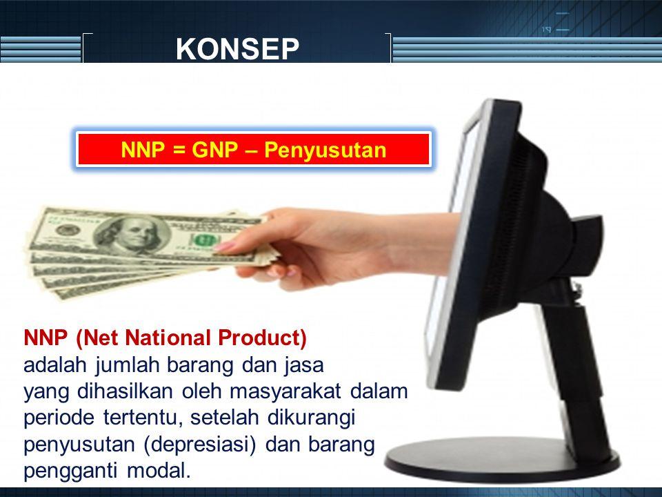KONSEP NNP (Net National Product) adalah jumlah barang dan jasa yang dihasilkan oleh masyarakat dalam periode tertentu, setelah dikurangi penyusutan (