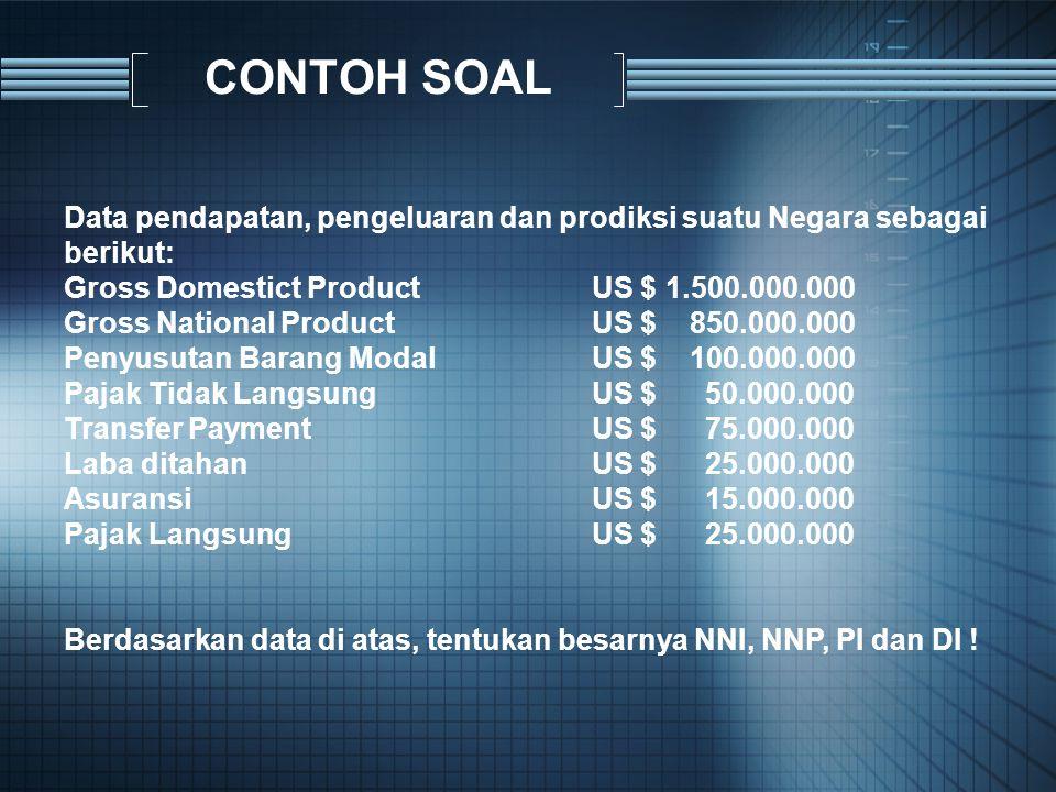 CONTOH SOAL Data pendapatan, pengeluaran dan prodiksi suatu Negara sebagai berikut: Gross Domestict Product US $ 1.500.000.000 Gross National Product
