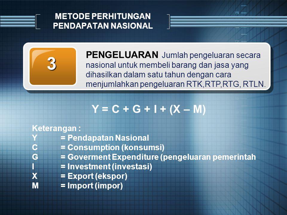 PENGELUARAN Jumlah pengeluaran secara nasional untuk membeli barang dan jasa yang dihasilkan dalam satu tahun dengan cara menjumlahkan pengeluaran RTK