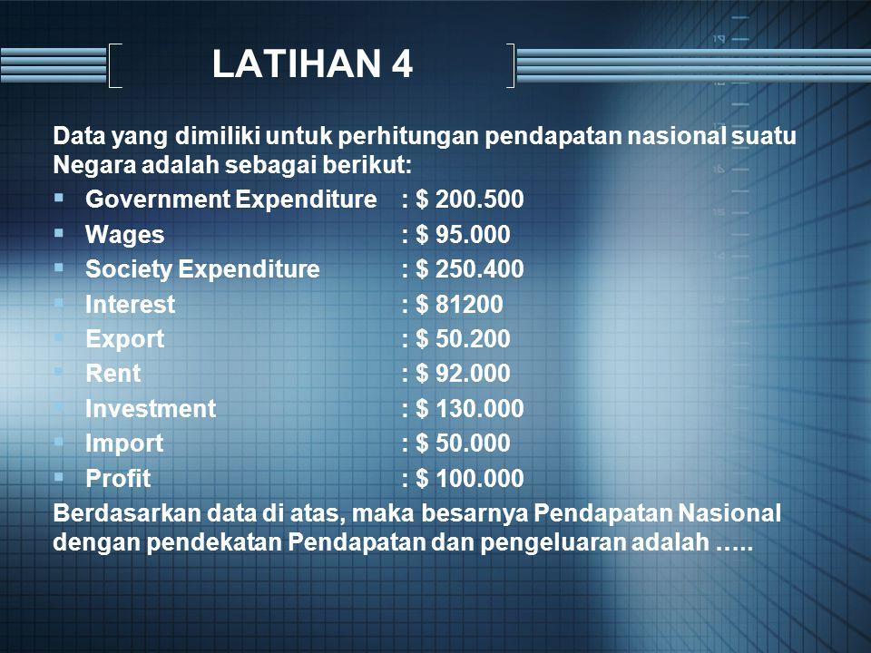 LATIHAN 4 Data yang dimiliki untuk perhitungan pendapatan nasional suatu Negara adalah sebagai berikut:  Government Expenditure: $ 200.500  Wages: $ 95.000  Society Expenditure: $ 250.400  Interest: $ 81200  Export: $ 50.200  Rent: $ 92.000  Investment: $ 130.000  Import: $ 50.000  Profit: $ 100.000 Berdasarkan data di atas, maka besarnya Pendapatan Nasional dengan pendekatan Pendapatan dan pengeluaran adalah …..