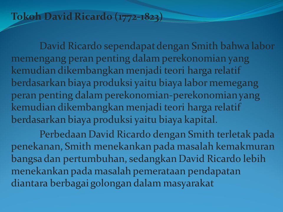 Tokoh David Ricardo (1772-1823) David Ricardo sependapat dengan Smith bahwa labor memengang peran penting dalam perekonomian yang kemudian dikembangka