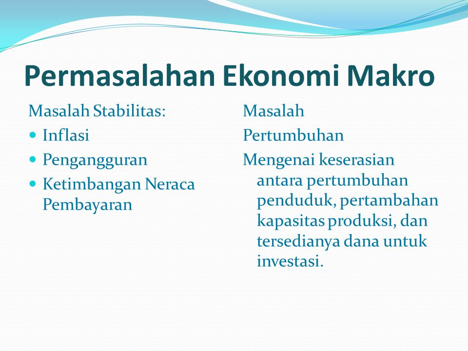 Permasalahan Ekonomi Makro Masalah Stabilitas: Inflasi Pengangguran Ketimbangan Neraca Pembayaran Masalah Pertumbuhan Mengenai keserasian antara pertu