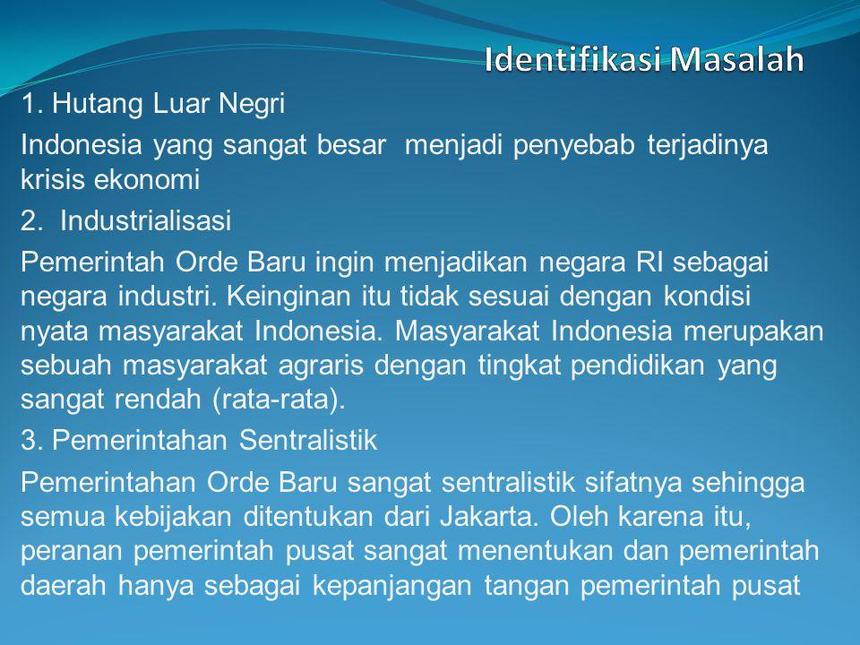 1. Hutang Luar Negri Indonesia yang sangat besar menjadi penyebab terjadinya krisis ekonomi 2. Industrialisasi Pemerintah Orde Baru ingin menjadikan n