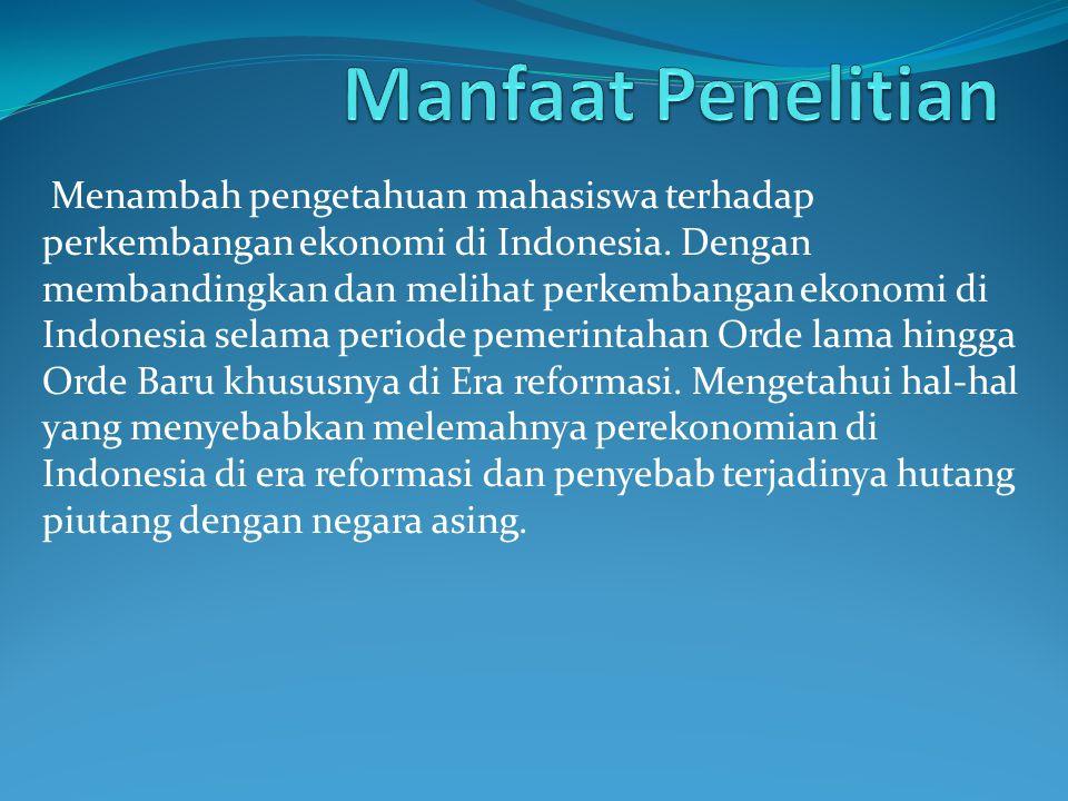 Menambah pengetahuan mahasiswa terhadap perkembangan ekonomi di Indonesia. Dengan membandingkan dan melihat perkembangan ekonomi di Indonesia selama p