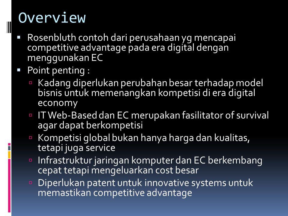 Overview  Rosenbluth contoh dari perusahaan yg mencapai competitive advantage pada era digital dengan menggunakan EC  Point penting :  Kadang diper