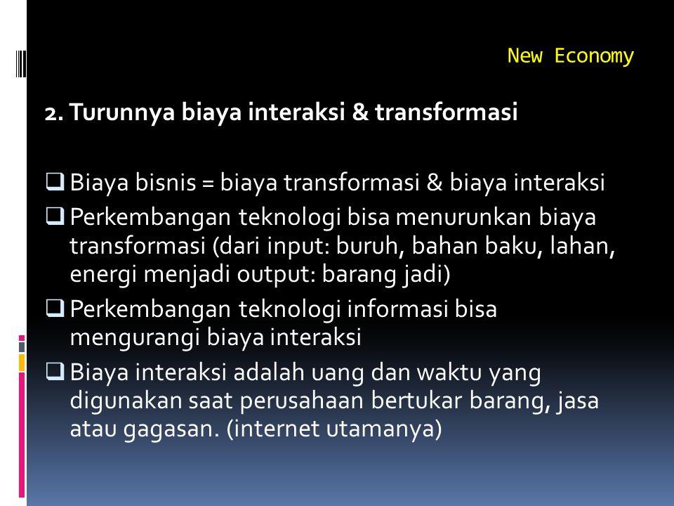 New Economy 2. Turunnya biaya interaksi & transformasi  Biaya bisnis = biaya transformasi & biaya interaksi  Perkembangan teknologi bisa menurunkan
