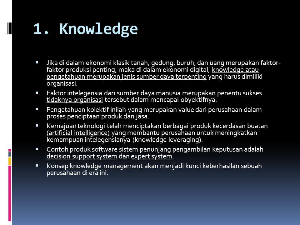 1. Knowledge  Jika di dalam ekonomi klasik tanah, gedung, buruh, dan uang merupakan faktor- faktor produksi penting, maka di dalam ekonomi digital, k