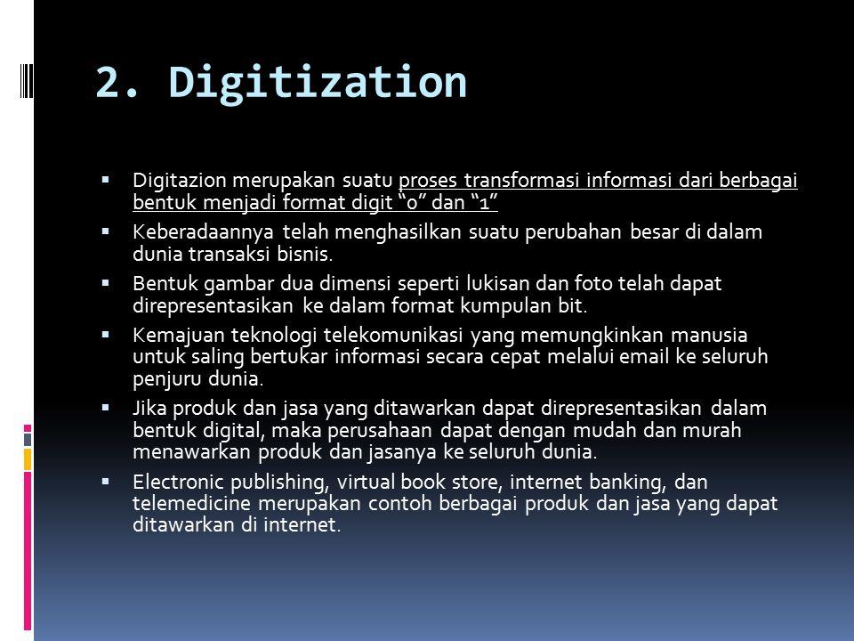 """2. Digitization  Digitazion merupakan suatu proses transformasi informasi dari berbagai bentuk menjadi format digit """"0"""" dan """"1""""  Keberadaannya telah"""