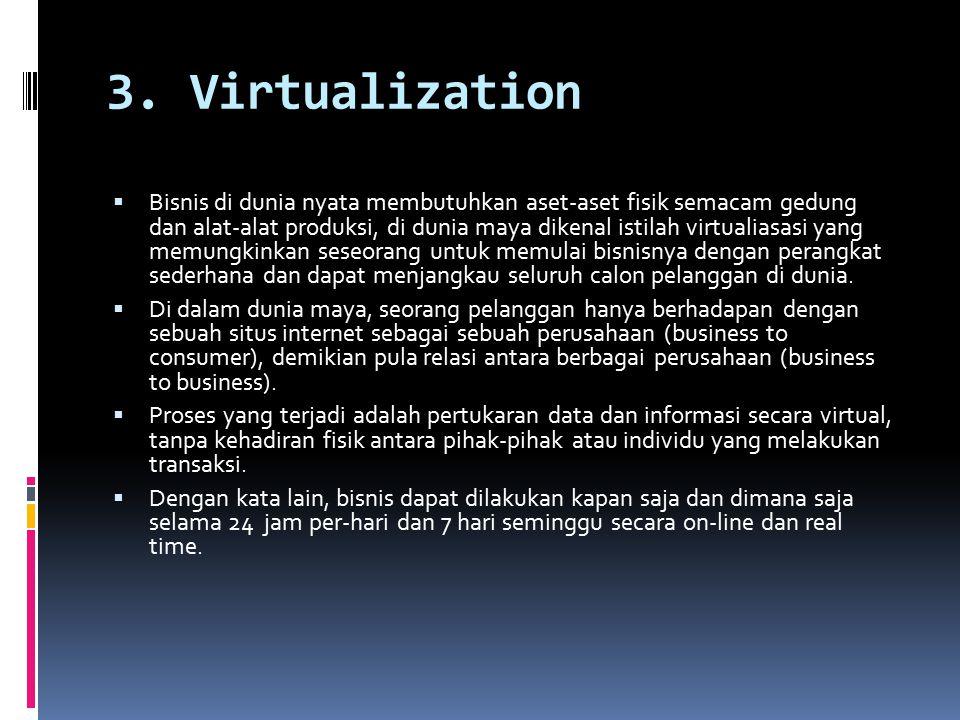 3. Virtualization  Bisnis di dunia nyata membutuhkan aset-aset fisik semacam gedung dan alat-alat produksi, di dunia maya dikenal istilah virtualiasa