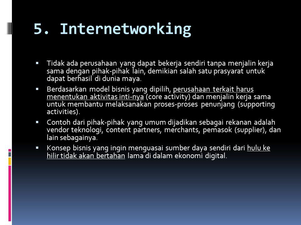 5. Internetworking  Tidak ada perusahaan yang dapat bekerja sendiri tanpa menjalin kerja sama dengan pihak-pihak lain, demikian salah satu prasyarat