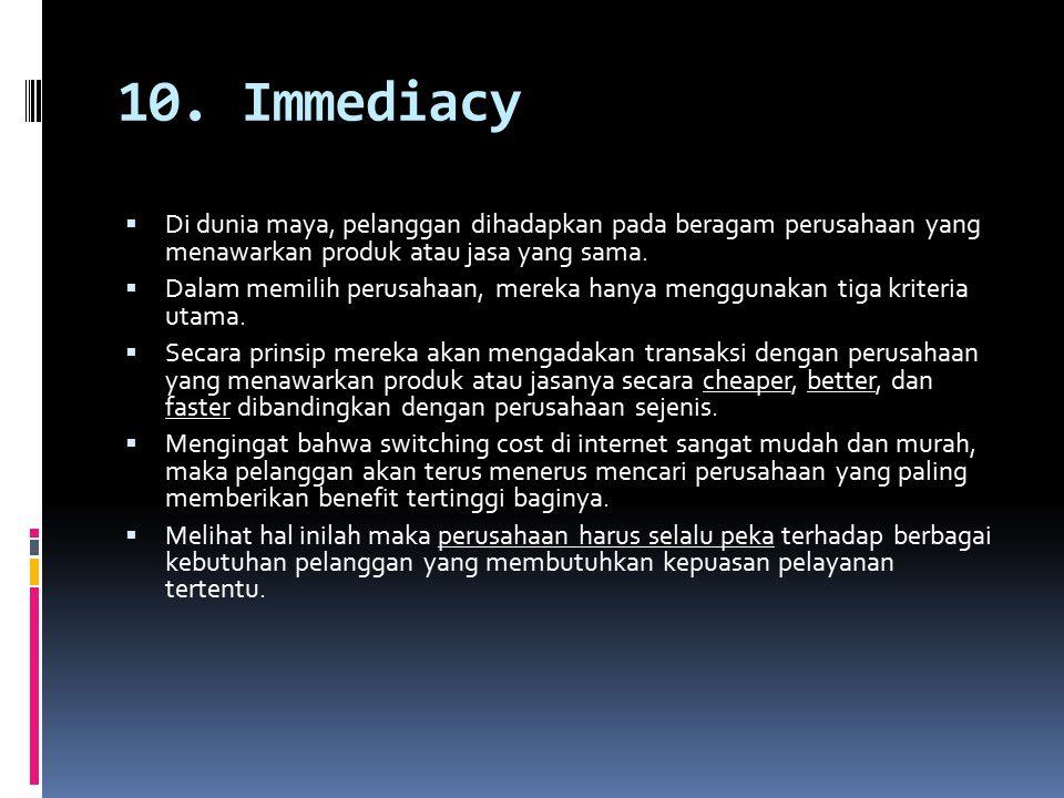 10. Immediacy  Di dunia maya, pelanggan dihadapkan pada beragam perusahaan yang menawarkan produk atau jasa yang sama.  Dalam memilih perusahaan, me